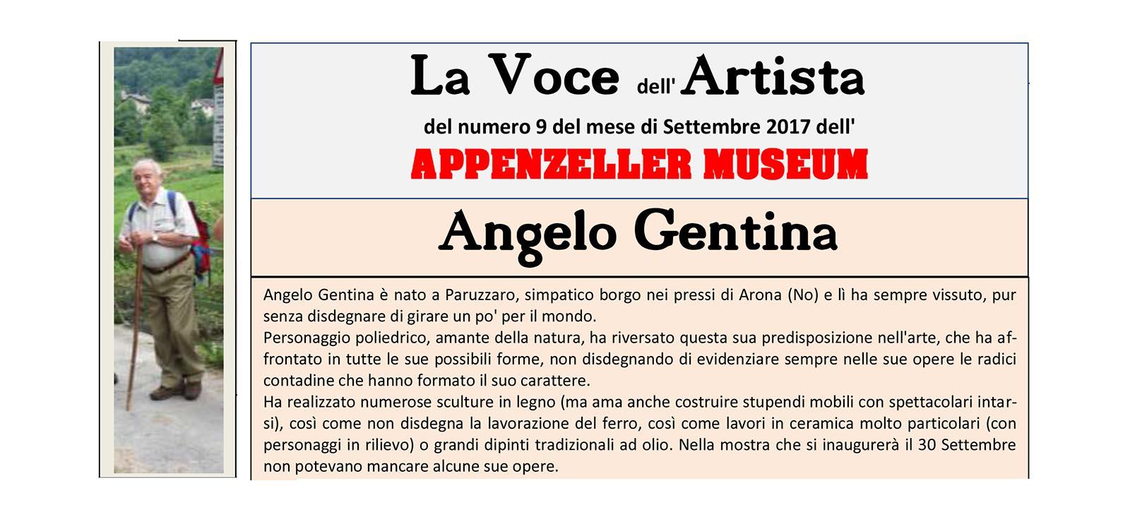 Angelo Gentina, La Voce dell'Artista – Settembre 2017, n.09, La Voce dell'Appenzeller Museum