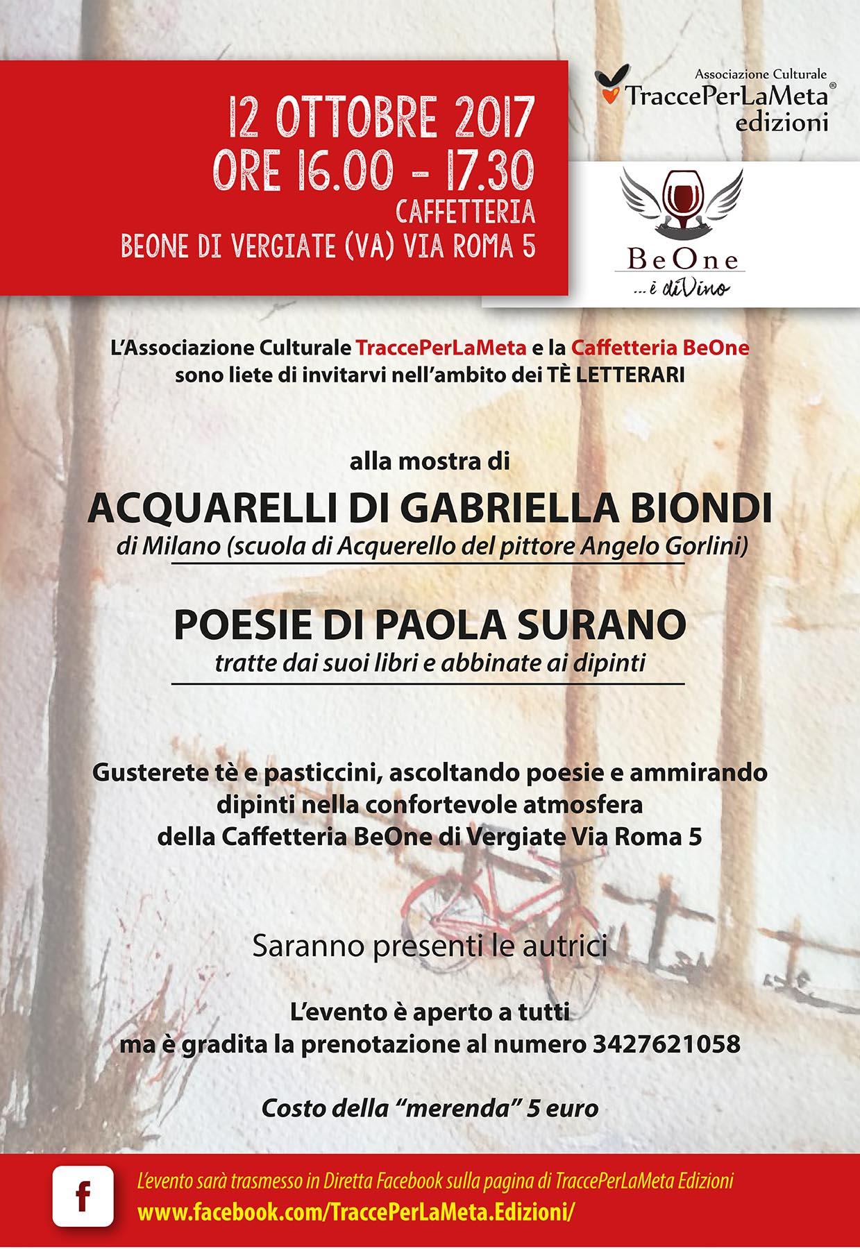 12.10.2017 – Tè Letterario con Acquarelli di Gabriella Biondi e Poesie di Paola Surano