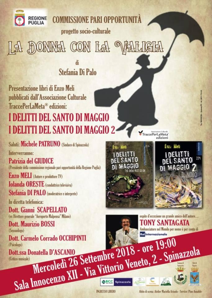 """26.9.2018 – """"I delitti del Santo di Maggio 1 e 2"""" presentazione della saga poliziesca di Enzo Meli"""
