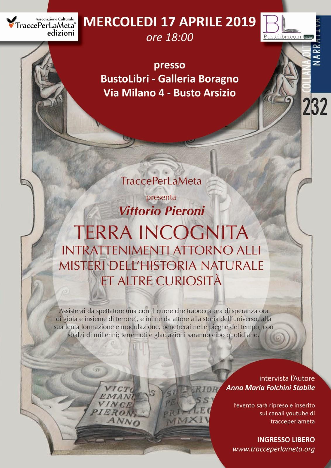"""17.4.2019 – Presentazione del libro """"Terra Incognita"""" di Vittorio Pieroni"""